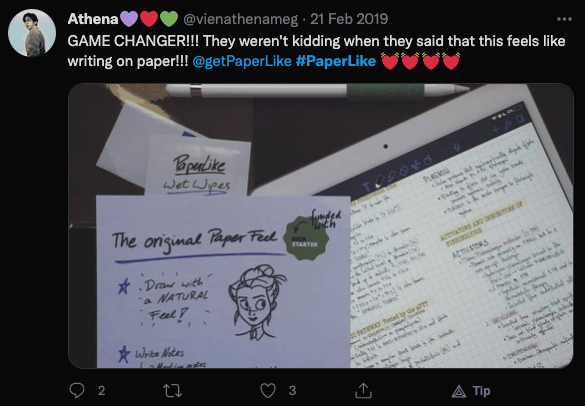 paperliek review from twitter user @vienathenameg
